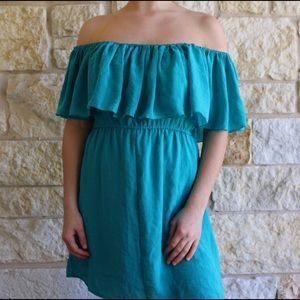 Dresses & Skirts - Turquoise Off-the-Shoulder Dress